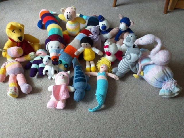 Hand-Knitted-Toys-made-by-a-Resident-at-Trafford-House